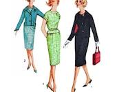 "1959 Jackie O Jacket, Dart-fitted Pencil Skirt, Kick Pleat, Kimono Sleeve Peplum Detail Top, Belt with Bow, Simplicity 3155, Sz 18, Bust 38"""