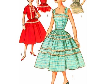 1958 Fitted Bodice Dress, Spaghetti Strap Option, Full Gathered Skirt, Short Sleeve Jacket, Use for Plaids/Sheers, Simplicity 2498, Bust 36""