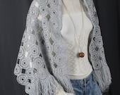 Silver grey shawl metallic silver shawl grey scarf wrap fringe tassle tassel bohemian gypsy boho OSFA