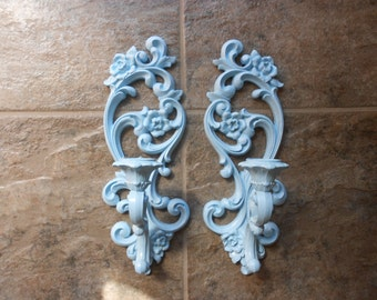 Vintage blue wall sconce, French country,  Syroco Inc. upcycled and distressed