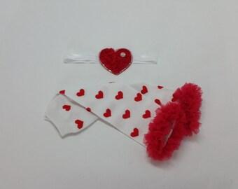 Valentine's Leg Warmer Set, Red Heart Leg Warmers,  Red Heart Headband, Red Ruffle Leg Warmers, Rhinestone headband, Baby Girl Valentine Set