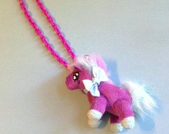 Magic Friends - Orchid and Pastel Plush Unicorn Necklace