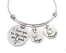 Personalized I Love You To The Moon And Back Bracelet - Hand Stamped Jewelry - Wire Bangle - Kids Names - Moon & Back Bangle- Mother Jewelry