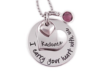 Personalized Memorial Necklace - I Carry Your Heart In My Heart - Loss, Remembrance, Miscarriage, Widow - Carry Heart - Memorial Jewelry