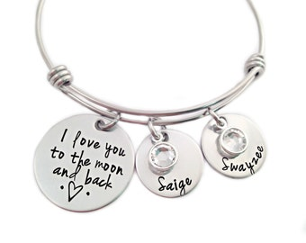 Personalized I Love You To The Moon And Back Bracelet - Engraved Jewelry - Wire Bangle - Kids Names - Moon & Back Bangle- Mother Jewelry