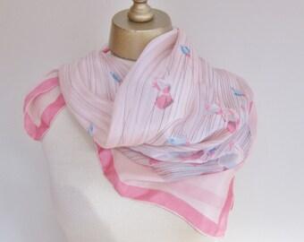Vintage silk scarf. 1950s silk scarf. pink silk scarf,  floral silk scarf. vintage scarves, hand rolled, 50s scarves