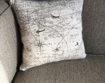 """Travel, Maps, Navigation Pillow in Gray with Polka Dot Backing - """"Great Adventure Pillow"""""""
