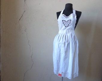 70s NOS bib apron/ battan lace trim