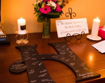 Wood Wedding Guest Book Alternative - Wedding Guest Sign in with Monogram  - Wedding Decor