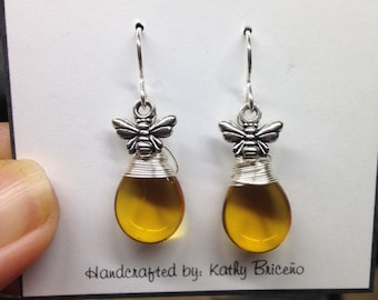 "Drop of Honey Bee Earrings, Sterling Silver Filled French Hooks, Silver Plate Non Tarnish 26 G Wire, Topaz Glass ""Honey""  Briolette Earrings"