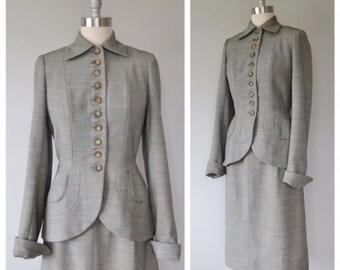 40s women's suit size medium / vintage skirt suit