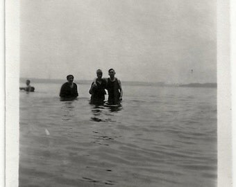 Old Photo People Swimming in Lake 1920s Photograph snapshot vintage
