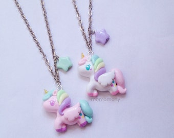 Pastel Unicorn White and Pink Necklace