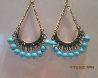 Gold Tone Chain Earrings with Blue Rhinestones and Baby Blue Bead Dangles
