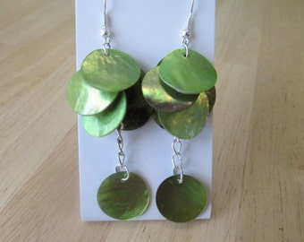 Mother of Pearl Green Shell Disc Earrings with a Green Shell Dangle on a Silver Tone Chain