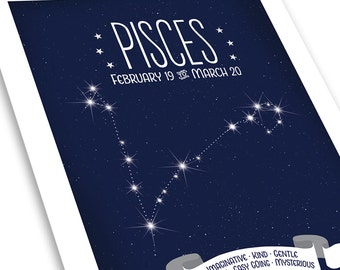 Pisces Constellation Print *  Zodiac Star Map