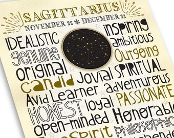 Sagittarius Art, Typography Style Astrology Print, Zodiac Constellation in Neutral Colors