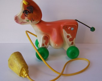 Vintage Fisher Price Cow Pull Toy 1972.Vintage Fisher Price Toy.Fisher Price Animal.1970's Fisher Price Toys.Vintage Toy Cow.Farm Animal Toy