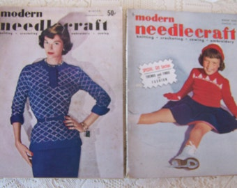 Vintage Modern Needlecraft Magazines (set of 2) Winter 1951 and 1952.Knitting,Crocheting,Sewing,Embroidery Patterns.Vintage Craft Magazines.