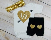 Half Birthday Baby Girl Outfit Girl Black Gold Glitter 1/2 With Heart Arrow Knotted Gold Headband Gold Heart Leg Warmers Milestone Pictures