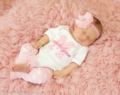 Baby Girl Personalized Monogram Bodysuit Gown Leg Warmers Headband Option Baby Newborn Coming Home Outfit Pink White Polka Dot Twin Girls
