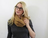 Honey Brown Cowl Scarf. Crochet Scarf. Lace Circle Scarf. Lacey Eternity Scarf. Textured Scarf. Womens Fall Accessories. Knit Cowl Scarf.