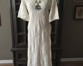 60s Mexican Peasant Summer Wedding Hippie Dress
