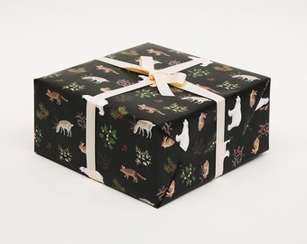 Winter Animals Christmas Wrapping Paper Black - Holidays