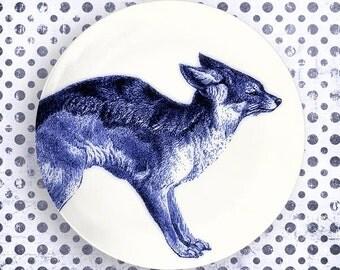 fox, blue fox melamine plate