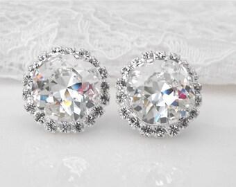 Swarovski Clear Crystal Wedding Earrings Crystal Bridal Earrings Winter Wedding White Wedding White Bridesmaids Silver White Bridal Earrings