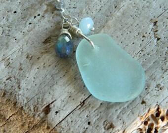 Genuine Sea Foam Blue Sea Glass and Gemstone Necklace