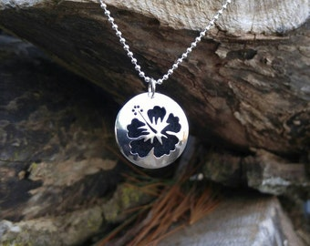 Hibiscus Flower Sterling Silver Essential Oil Necklace. Hand Cut Hibiscus Silver Pendant. Aromatherapy Diffuser Necklace. Ready to ship.