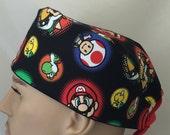 Unisex Scrub Cap- Nintendo scrub hat - Super Mario Black & Scrub Cap - Mario Bros Scrub Hat - Character scrub hat - Kid's design scrub hat