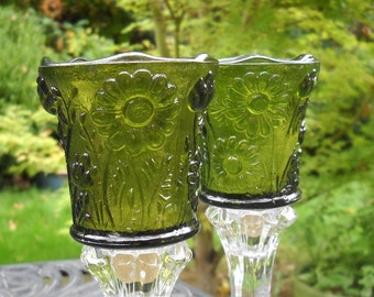 Vintage Votives, Beautiful Green, Pressed Glass, Floral Impressions, Gorgeous, a Pair