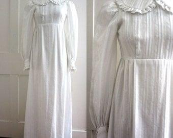 Vintage Empire Waist Wedding Dress - Modest - Long Sleeve - Prairie Dress - White - 1960s - 1970s