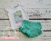 Mermaid Outfit, Baby Girl Mermaid, Ruffle Shorts, Bubble Shorts, Mermaid Clothing, Boutique Clothes
