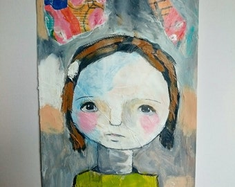 Acrylic painting, girl head on paper with paper collage , mixed media , pencil