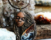 Agate Goddess Gemstone Necklace. Handcrafted Clay, Healing Jewelry, TRaewyn.