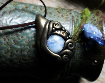 Handcrafted Moonstone Necklace. Spirit Shift Necklace. Handcrafted Clay & Gemstone Pendant.