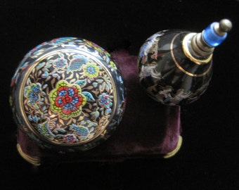 Greek Perfume Bottle Lot 24k T. Giorgio Vase Black Porcelain 24 Karat Gold Greece Grecian Hand Painted Perfume Scented Oil Jar