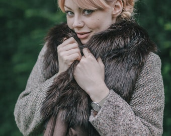 Faux Fur & Felt Mink Stole in Dark Brown