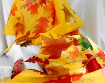 Sunny Autumn Day - hand painted, 72 by 8 inch, 100% silk scarf