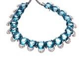 Reja Vintage Aquamarine Blue Rhinestone Necklace Silver Tone Signed