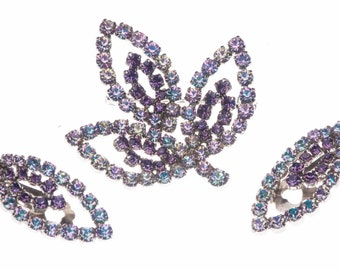 Blue & Lavender Faux Alexandrite Color Changing Rhinestone Western Germany