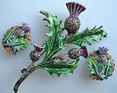 Vintage Scottish Thistle Enamel Brooch, Clip Earrings, Marcasites, Purple and Green