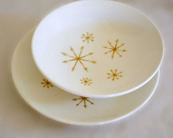 Royal China Ironstone Star Glow Saucers, Bread Plates, Berry Bowls, Gold Atomic Star, Snowflake