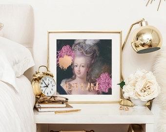 Marie Antoinette print, Marie Antoinette art, Marie Antoinette decor, Eat Cake print, Rose gold print, French painting, Wall decor