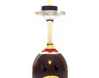 Sock Monkey Wine Glass Tea Light Candle Holder Hand Painted