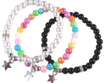 STAR Charm Bracelet 16 Colour Choices 6mm Acrylic Beads on Elastic