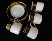Set of 4  Demitasse Tea Cups, Tea Cups and Saucers, Tea Cup Set, Black and Gold, Demitasse Set
